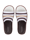 FAUSTO Men's White/Brown Casual Synthetic Slip-On Flip-Flops