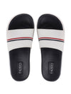 FAUSTO Men's White Casual PU Slip-On Color Block Slider Flip-Flops