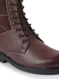FAUSTO Men's Brown Leather Lace Up High Top Boots