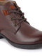 FAUSTO Men's Brown Leather Lace Up Flat Boots