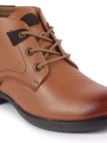 FAUSTO Men's Tan Leather Lace Up Flat Boots