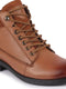 FAUSTO Men's Tan Leather Lace Up Biker Boots