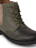 FAUSTO Men's Olive Outdoor Leather Lace Up Chelsea Boots