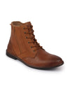 FAUSTO Men's Tan High Ankle Lace Up Leather Zipper Boots