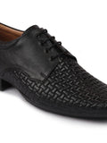 FAUSTO Men's Black Formal Leather Lace Up Shoes