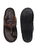 FAUSTO Men's Brown Formal Synthetic Slip-On Slippers