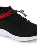 FAUSTO Men's Black Sports Knitted Soft Fabric Lace-Up Outdoor Running Shoes