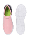FAUSTO Women's Pink/Black Sports Knitted Soft Fabric Slip-On Walking Shoes