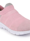 FAUSTO Women's Pink Sports Knitted Soft Fabric Slip-On Walking Shoes