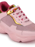 FAUSTO Women's Pink Sports & Outdoor Lace Up Running Shoes