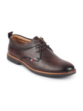 FAUSTO Men's Brown Formal Lace Up Oxford Shoes with TPR Welted Sole