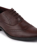 FAUSTO Men's Brown Formal PU Lace-Up Brogue Shoes