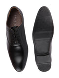 FAUSTO Men's Black Formal PU Lace-Up Oxford Shoes