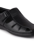 FAUSTO Men's Black Formal Leather Hook & Loop Flat Sandals