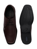 FAUSTO Men's Brown Formal Leather Lace-Up Derby Shoes