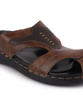 FAUSTO Men's Brown Casual PU Slip-On Fishermen Sandals