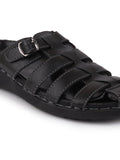 FAUSTO Men's Black Casual PU Slip-On Fishermen Sandals
