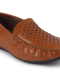 FAUSTO Men's Tan Casual PU Slip-On Loafers