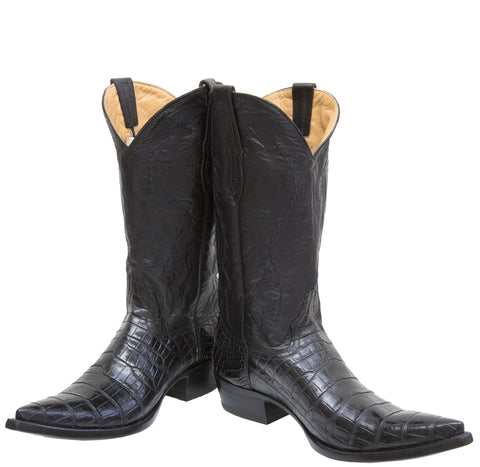 Black crocodile skin boots