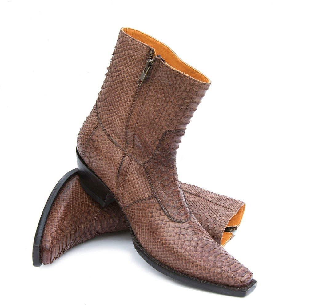 Brown Python Ankle boots
