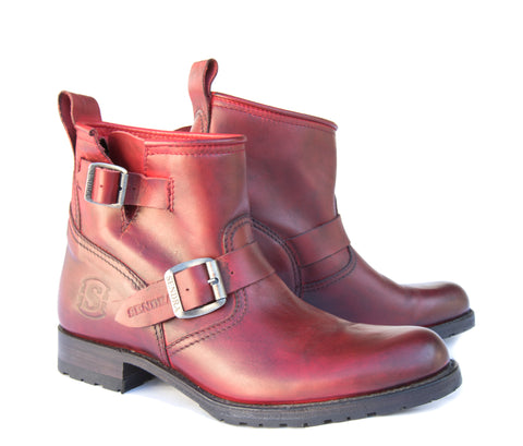 Red leather Biker Boot