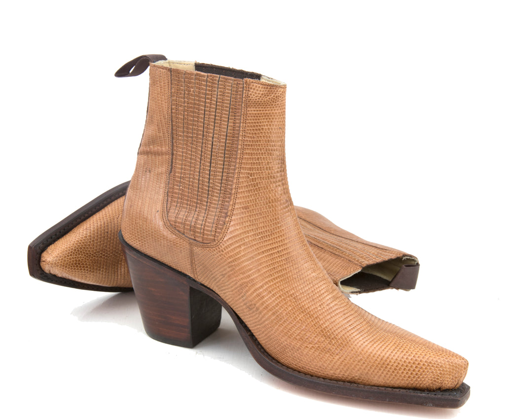 Lizard Tan Ankle Boot