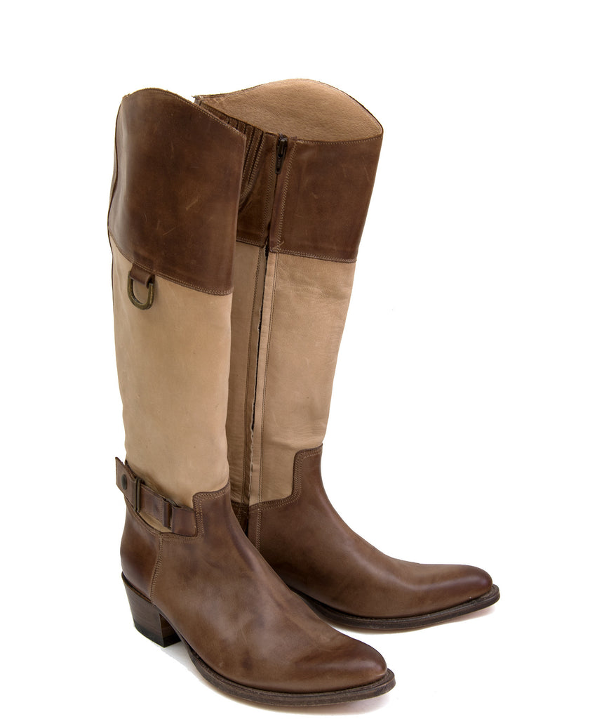 Brown and natural riding boot
