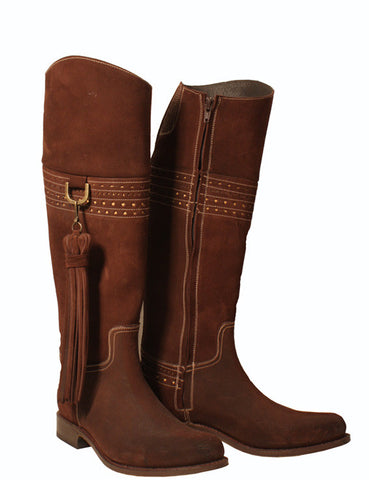 Chocolate suede riding boot