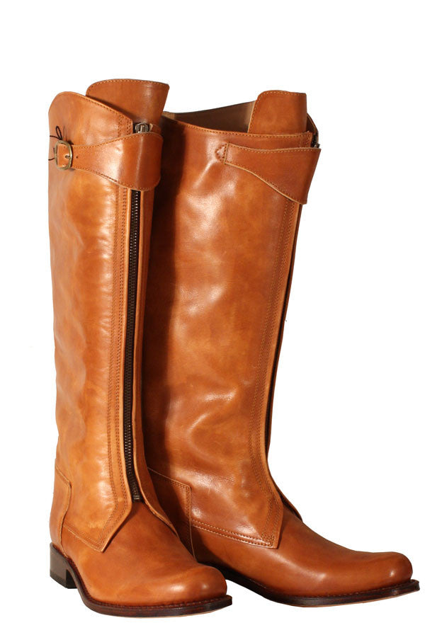 Tan front zip riding boot