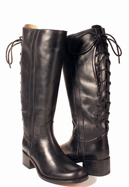 Black back lace riding boot