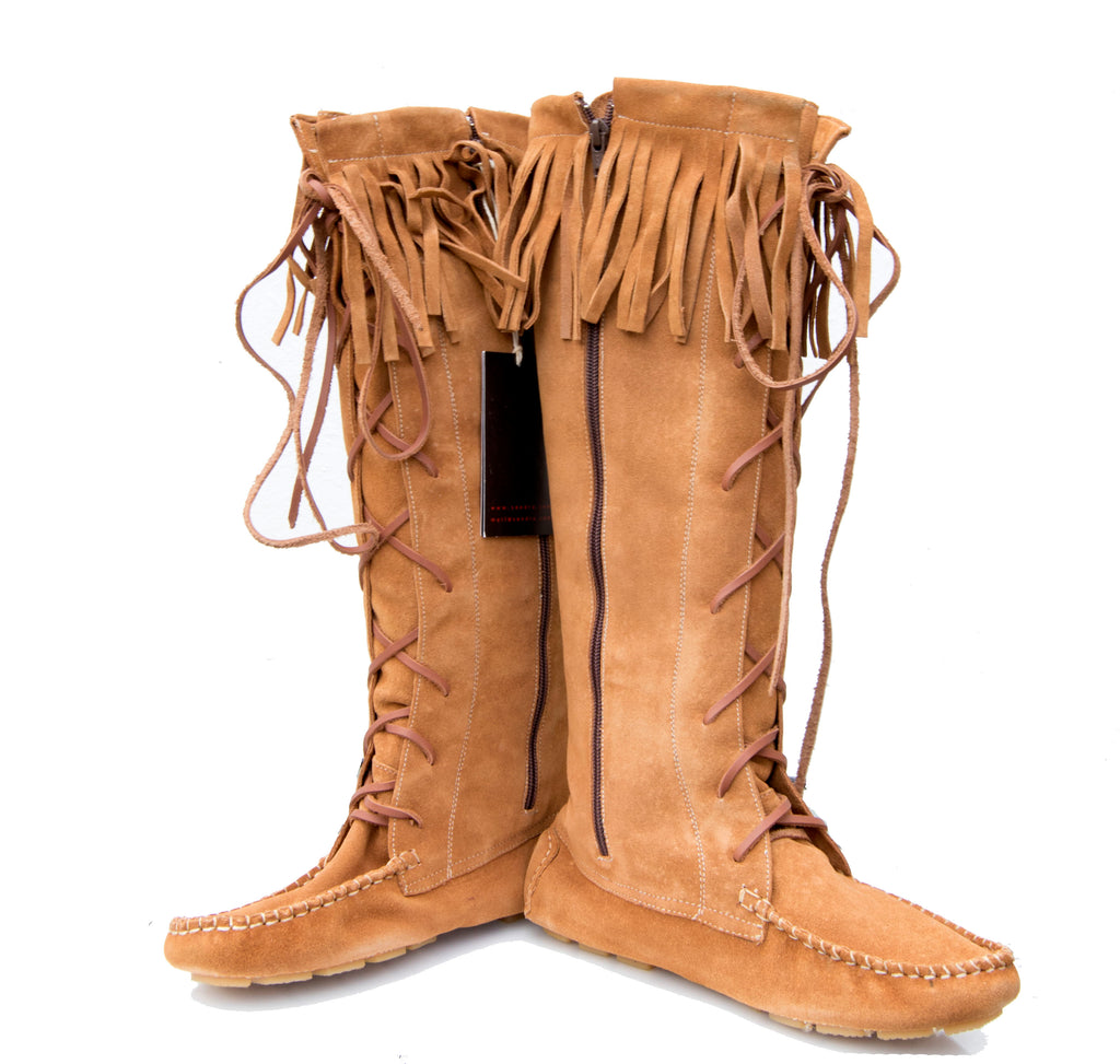 Tall suede moccasin