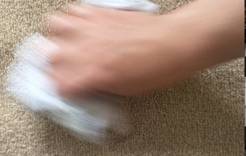 Rubbing Cloth on Stain Remover to get rid of red wine stain on carpet