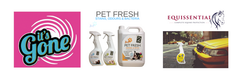 It's Gone Home Stain & Odour Removal, Pet Fresh Pet Stain & Odour Eliminator, Equissential Stable Cleaner, Taxi Fresh Car Fabric & Air Freshener,