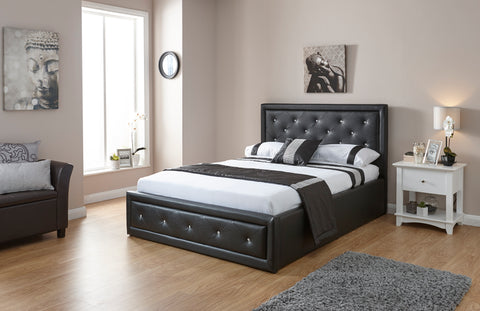 Hollywood Faux Leather Lift Up Storage Bed
