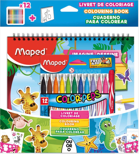 Libreta de colorear + 12 rotuladores de colores, Maped