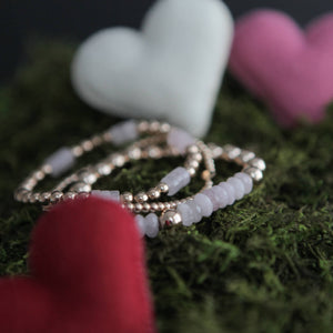 8mm  - Rose Quartz Rondelle- Silver, Rose Gold or Gold