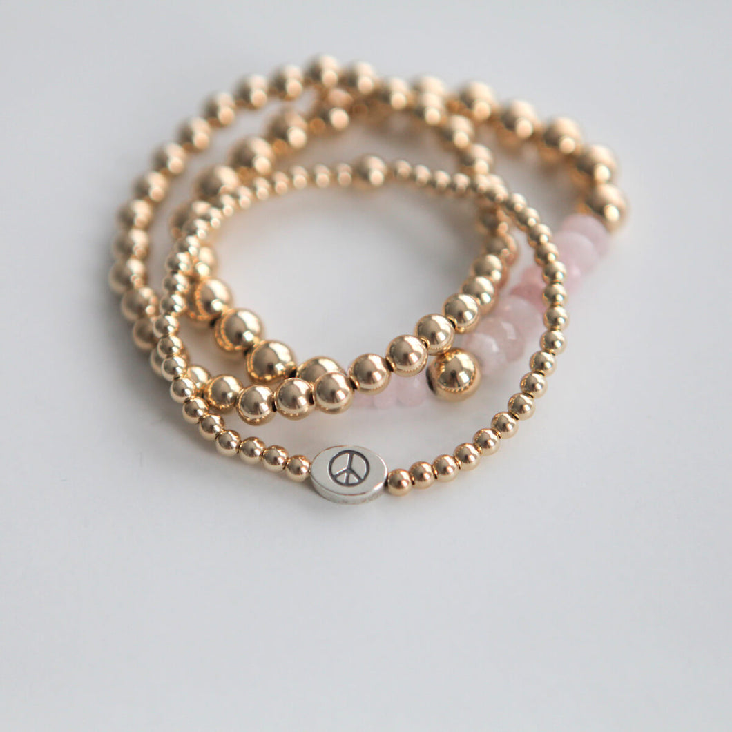 4mm Peace bracelet - Gold