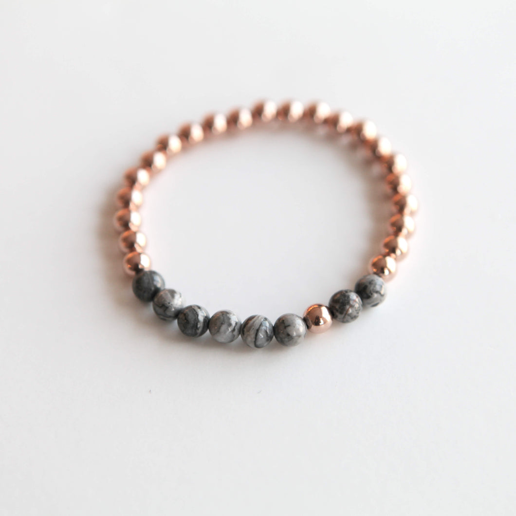 6mm Grey Peace Jasper - Gold, Rose Gold or Silver