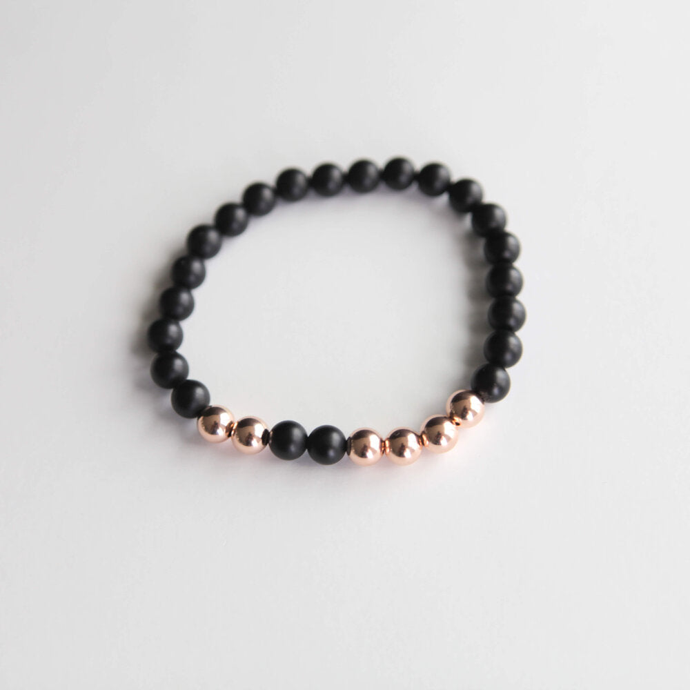 8mm Black Onyx with Gold, Rose Gold or Sterling silver accents
