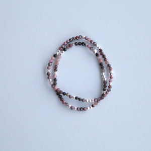 3mm multicoloured Rhodonite with silver accents