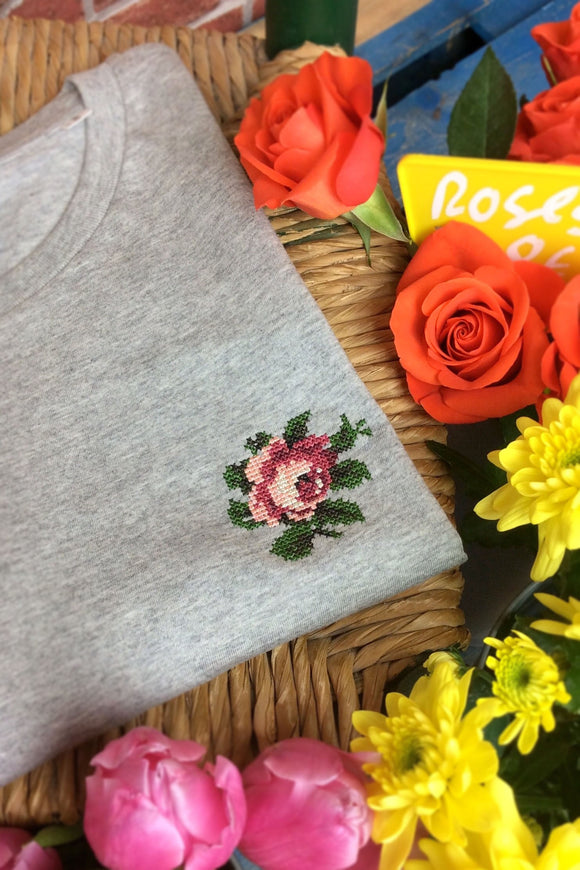 TEE SHIRT ROSE GRIS CLAIR JOHNNY ROMANCE