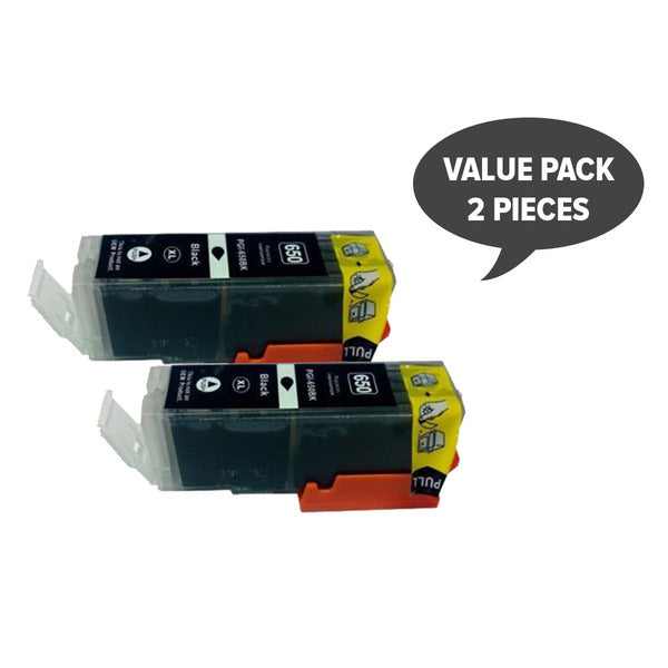 2 x PGI-650XL Pigment Black Compatible Cartridge