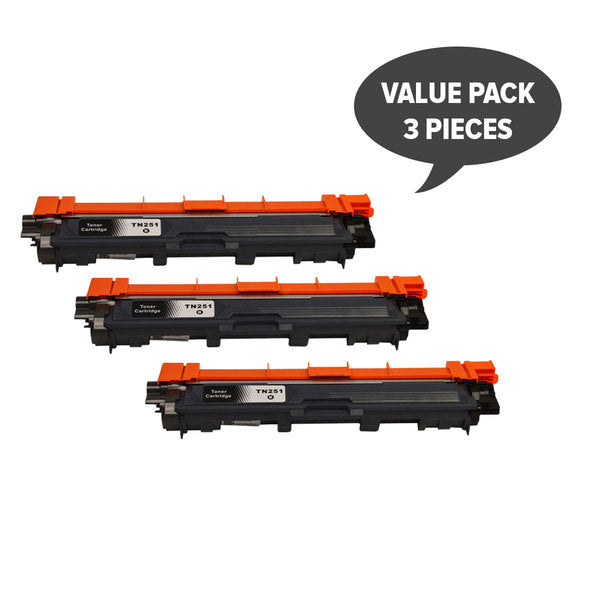 TN-251 Black Premium Generic Toner (Set of 3)