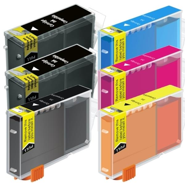BCI-3 Black / Bci-6 Colours Compatible Inkjet Cartridge Set  6 Ink Cartridges