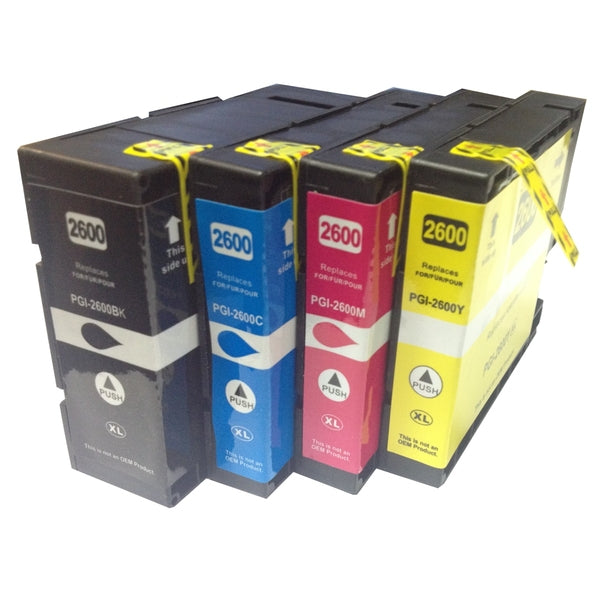 PGI-2600XL Premium Pigment Compatible Inkjet Cartridges (Set of 4)
