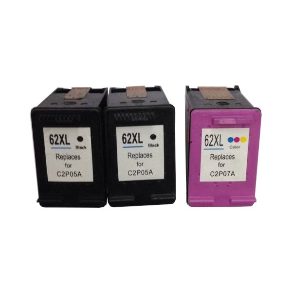 Remanufactured Value Pack (2 x HP62XL Black & 1 x HP62XL Colour)