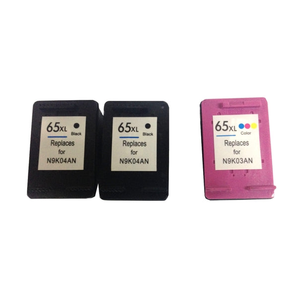 Remanufactured Value Pack (2 x HP65XL Black & 1 x HP65XL Colour) with New Chip