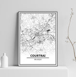 Affiche Carte Ville <br /> Courtrai