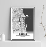 Affiche Carte Ville <Br /> Chicago 1700
