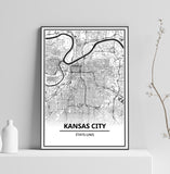 Affiche Carte Ville <br /> Kansas City